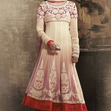 Cream Georgette Long Anarkali Suit