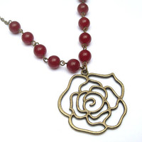 Antiqued Brass Flower Red Agate Necklace by gemandmetal on Etsy