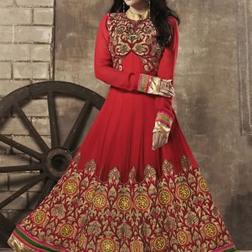 Red Georgette Long Anarkali Suit
