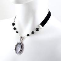 Large Clear Cabochon Pendant Choker Necklace with Black by Arthlin