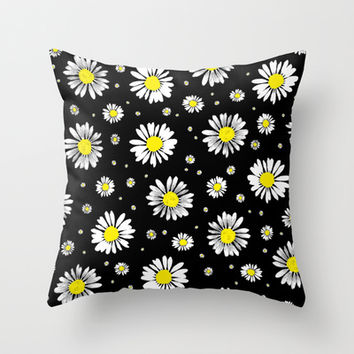 Daisies Throw Pillow by Ornaart