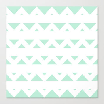 Tribal Triangles Mint Green Stretched Canvas by BeautifulHomes | Society6