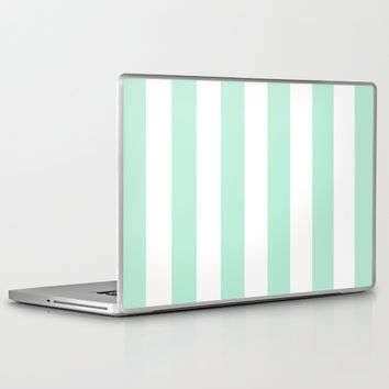 Stripe Vertical Mint Green Laptop & iPad Skin by BeautifulHomes | Society6