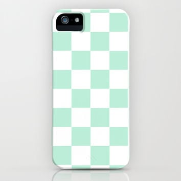 Checkers Square Mint Green iPhone & iPod Case by BeautifulHomes | Society6