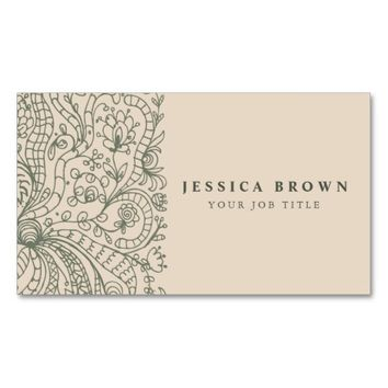 Elegant Vintage Floral line art Business Card