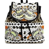 River Island Black Beaded Rucksack at asos.com