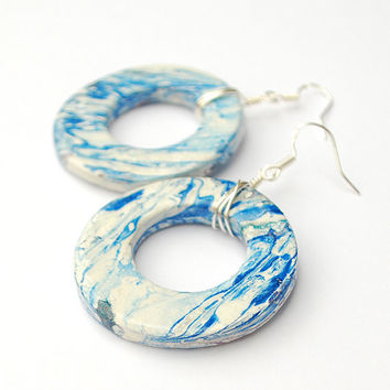 White and blue earrings. Blue dangle earrings. Hand painted marble earrings. Blue hoops. Stone pattern earrings. Circular pendant earrings.