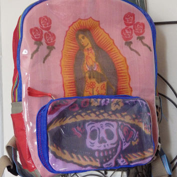 Creamy Pink Guadalupe(Mexican Folklore) Backpack with Purple Catrina Pocket