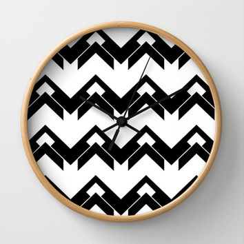 chevron pattern in black and white Wall Clock by VanessaGF