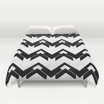 chevron pattern in black and white Duvet Cover by VanessaGF