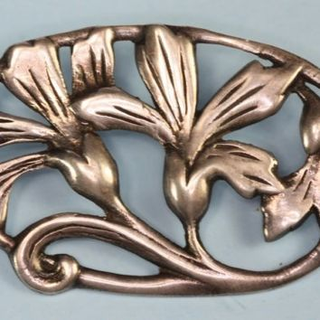 Floral Brooch Sterling Silver Arts and Crafts Vintage