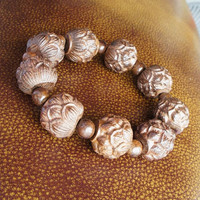 Lotus flower wood bracelet - Camphorwood bracelet,Buddhist prayer beads bracelet - Unsex