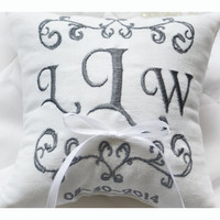 Ring bearer pillow, wedding ring pillow , Linen Monogrammed ring pillow , Custom embroidered ring bearer pillow (R6)