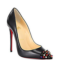 Christian Louboutin - Cabo Studded Point-Toe Pumps - Saks Fifth Avenue Mobile