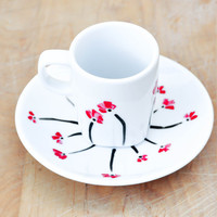 Red poppies Porcelain Espresso Cup and Saucer set - Hand Painted Spring Decor Coffee set - Made to order