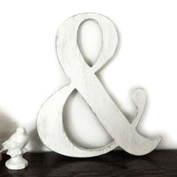 Vintage wedding - Shabby chic sign - Engagement prop ampersand- Classic White