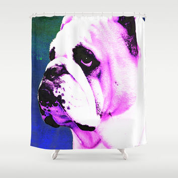 Pink Bulldog Dog Pet Pop Art by Sharon Cummings Shower Curtain by Sharon Cummings | Society6