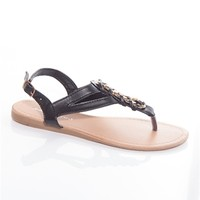 Entwined Edge Flat Woven Chain Thong Sandals - Black