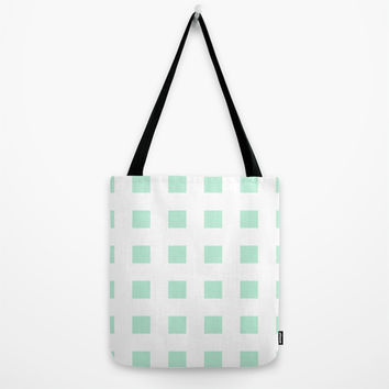 Cross Squares Mint Green Tote Bag by BeautifulHomes | Society6