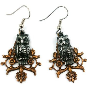 Surgical Steel and Brass Dangle Earrings Gothic Owl