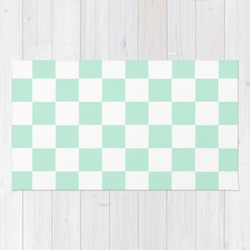 Checkers Square Mint Green Area & Throw Rug by BeautifulHomes | Society6