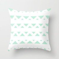 Tribal Triangles Mint Green Throw Pillow by BeautifulHomes | Society6