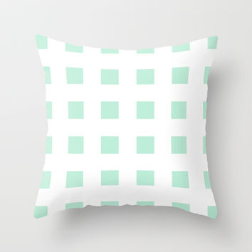 Cross Squares Mint Green Throw Pillow by BeautifulHomes | Society6