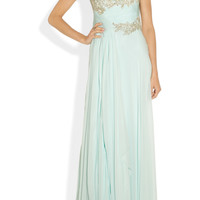 Marchesa One-shoulder appliquéd silk-chiffon gown – 70% at THE OUTNET.COM