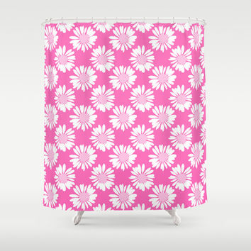 Pink Flowers Shower Curtain by Ornaart