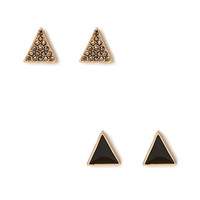 Rhinestoned Triangle Stud Set
