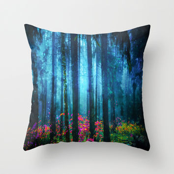 Magicwood #Night Throw Pillow by Armine Nersisian