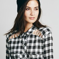 Free People Plaid Lace Up Buttondown