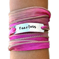 Fearless, Fearless Jewelry, Cancer Survivor,  Boho Silk Wrap Bracelet, Beach Bracelet, Yoga Jewelry, Yoga Bracelet Wrap