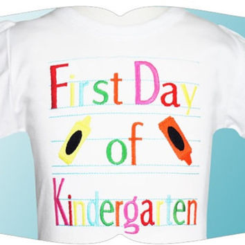 Back to kindergarten Paper & Font Custom Tee Shirt - Customizable -  Infant to Youth