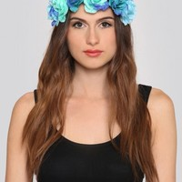Electric Rose Flower Crown - Blue