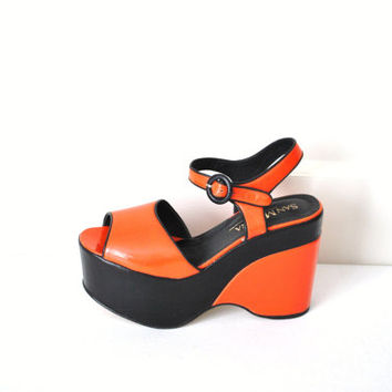 size 7 mega platforms / avant garde color block leather high fashion platform wedges