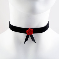 Black Velvet and Red Satin Rose Choker   Lolita by Arthlin on Etsy