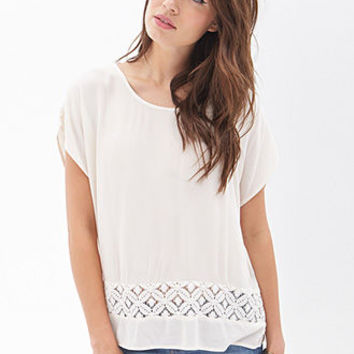 Floral Lace Cutout Top
