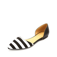 Striped Pointed Toe D'Orsay Flats by Charlotte Russe - Black