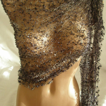 Hand knitted gray black magic shawl by Arzus on Etsy