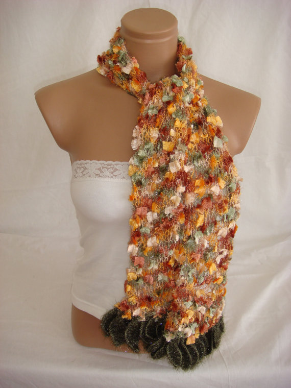 Hand knitted&crocheted multicolor elegant scarf by Arzus on Etsy