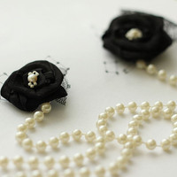 Black Flower Necklace Brooch with Pearls  Black by LuciaStofej