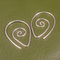Sterling Silver Earrings / Swirling Silver Hoops / by MetalRocks