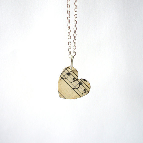 $19.24 Vintage music paper heart necklace by houseofismay on Etsy