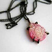 $98.00 Pink and Black Candy Pink Drusy by RachelPfefferDesigns on Etsy