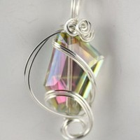 BEAUTIFUL AND UNIQUE FACETED RAINBOW QUARTZ PENDANT SET | IMPRESSIONSbyAnnie - Jewelry on ArtFire