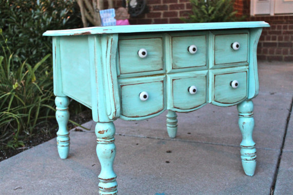 Aquamarine Nightstand Side/End Table.. Beach Cottage Decor by AquaXpressions