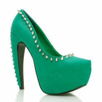 spiked platform heels $39.60 in BLACK CORAL GREEN NEONYELLOW - New Shoes | GoJane.com