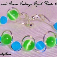 BEAUTIFUL GREEN AND BLUE CATSEYE OPAL BANLE BRACELET | IMPRESSIONSbyAnnie - Jewelry on ArtFire