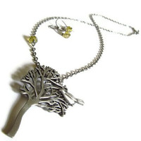 Citrine and Brushed Nickel Song Bird's Tree by PinkCupcakeJC